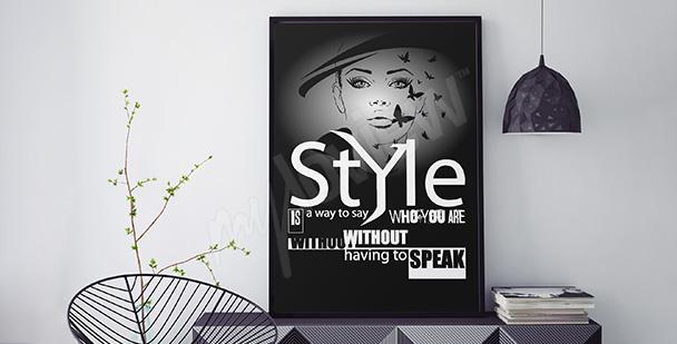 Plakat z kobietą i napisami
