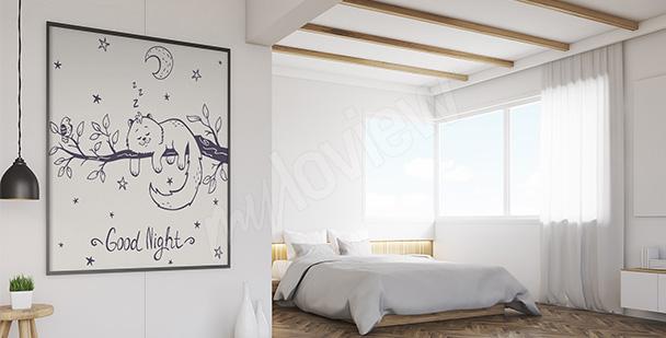 Plakat z kotem do sypialni