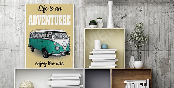Plakat z minibusem w stylu retro