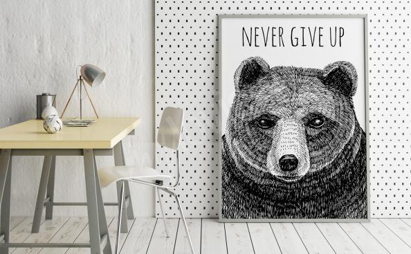 Plakat z niedźwiedziem i napisami