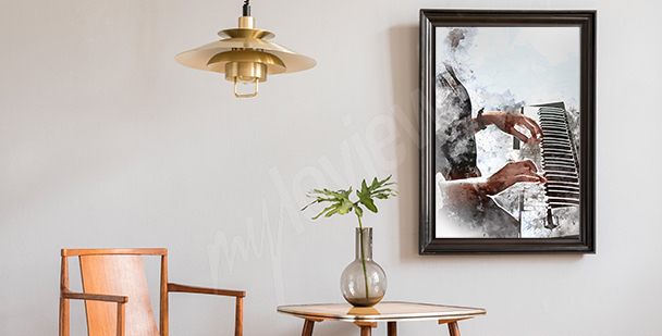 Plakat z pianistą do salonu