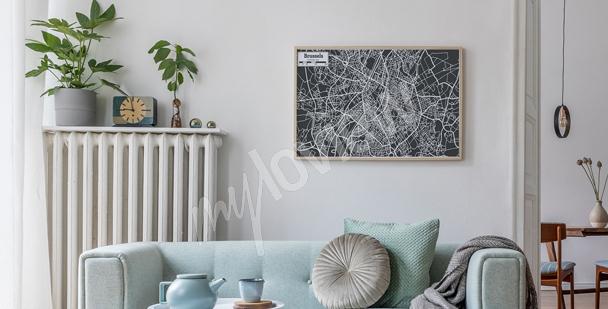 Plakat z planem miasta