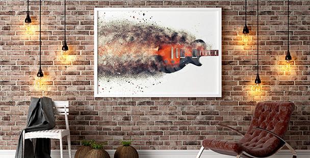 Plakat z płonącą gitarą