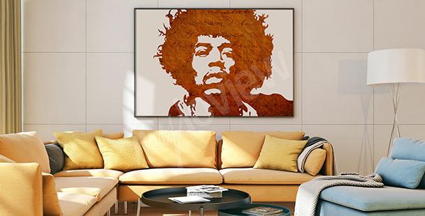 Plakat z podobizną Jimiego Hendrixa