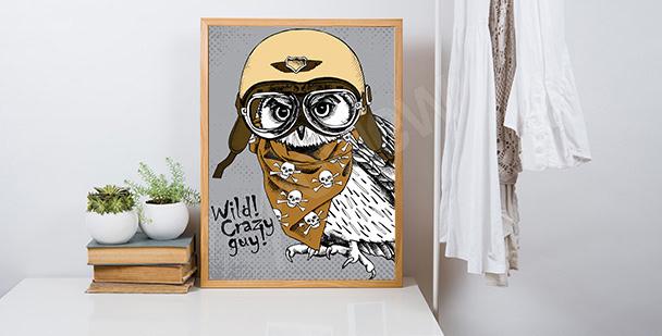 Plakat z sową w kasku