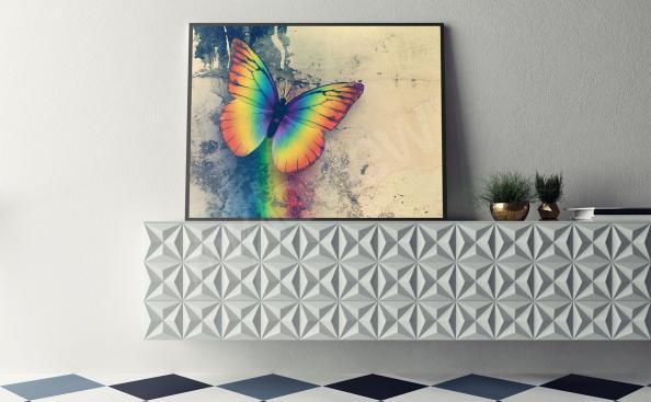 Plakat z tęczowym motylem
