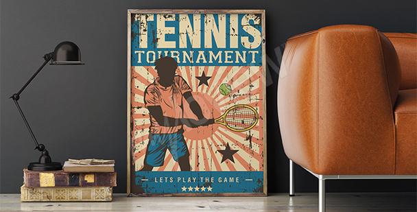 Plakat z tenisistą vintage