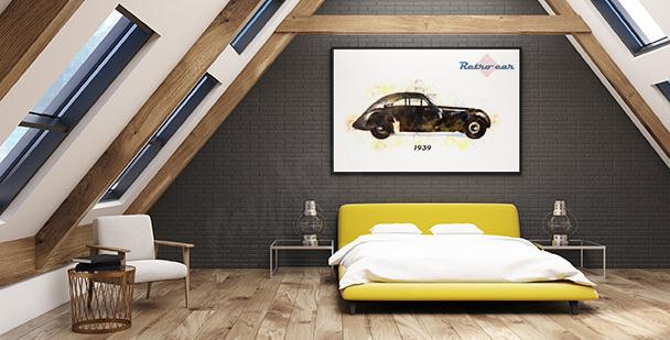 Plakat z zabytkowym samochodem