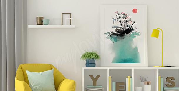 Plakat żaglowiec na morzu