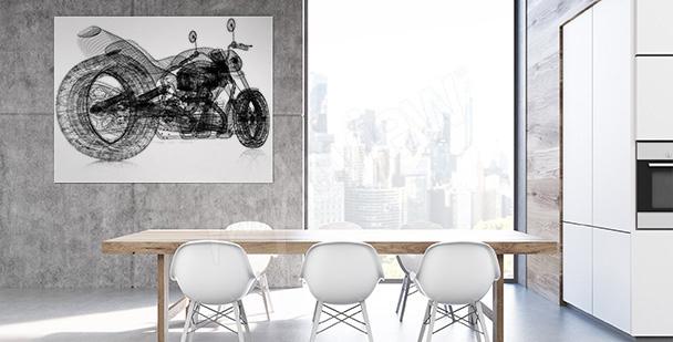 Plakat ze szkicem motocykla