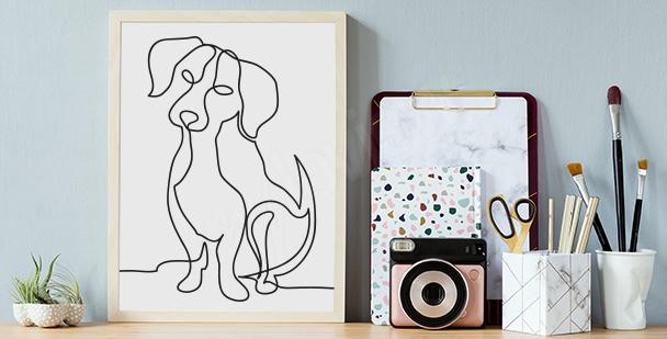 Plakat ze szkicem psa