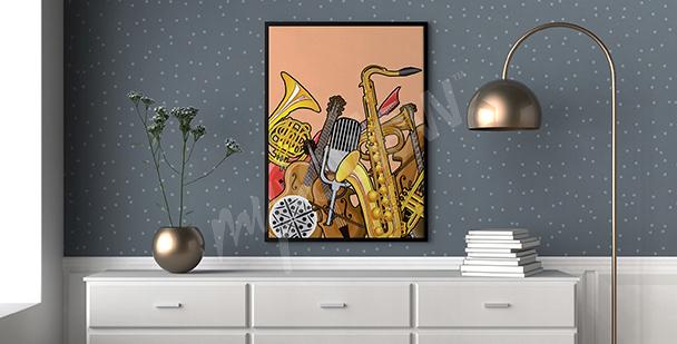 Plakat zestaw instrumentów muzycznych
