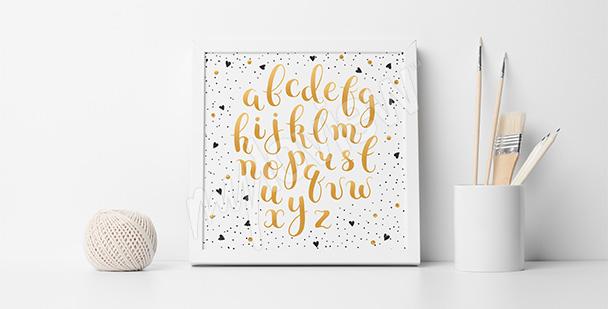 Plakat złote litery