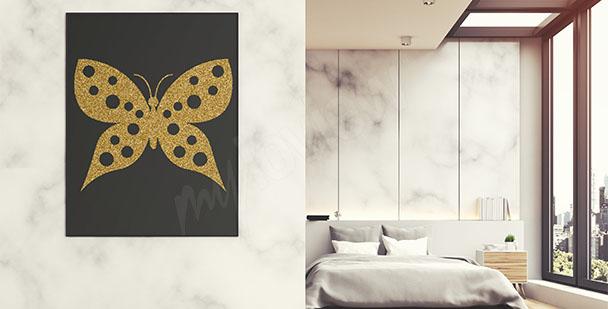 Plakat złoty motyl