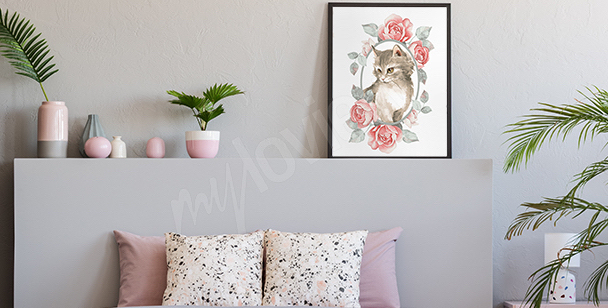 Plakat zwierzę w kolorze pasteli