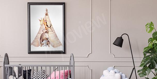 Plakat zwierzęta do pokoju dziecka