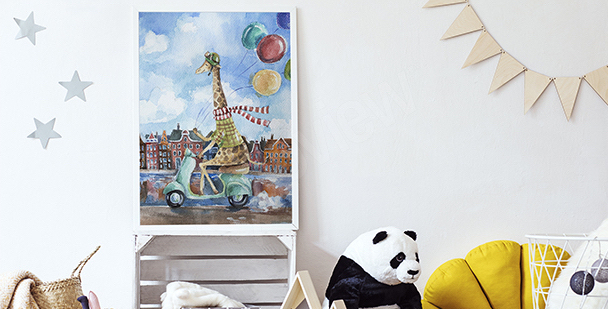 Plakat żyrafa na skuterze