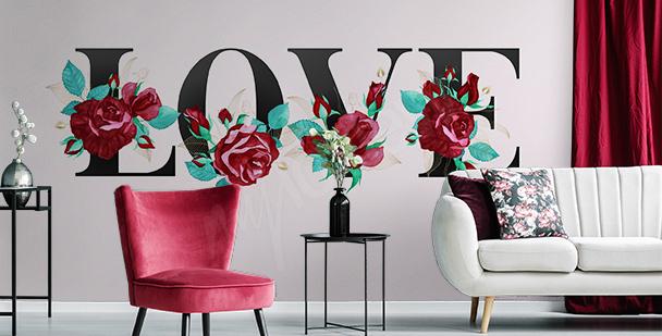 Romantyczna fototapeta typograficzna