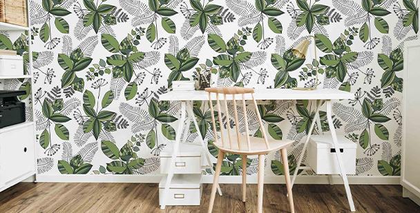 Roślinna tapeta w stylu skandynawskim