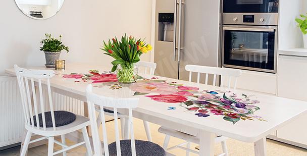 Różana naklejka na stół