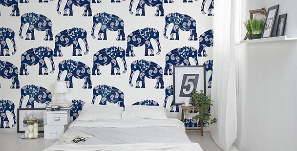 Tapeta niebieskie słonie