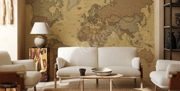 Fototapeta mapa świata do jadalni