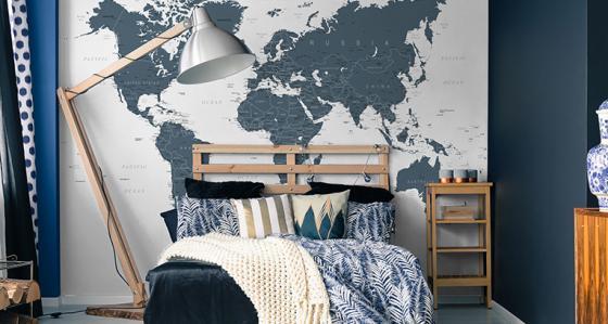 Fototapeta mapa i nie tylko: w osiemdziesiąt dni dookoła mieszkania