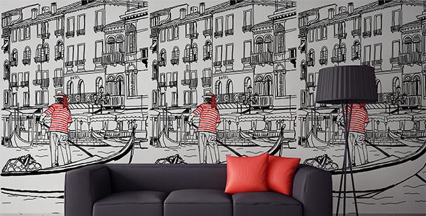 Tapeta czarno-biała Wenecja