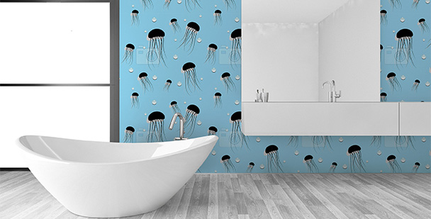 Tapeta do łazienki - meduzy