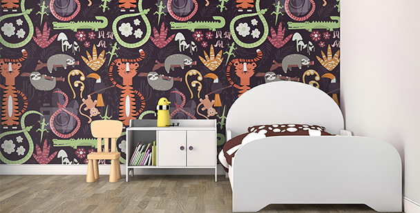 Tapeta dżungla na ścianie