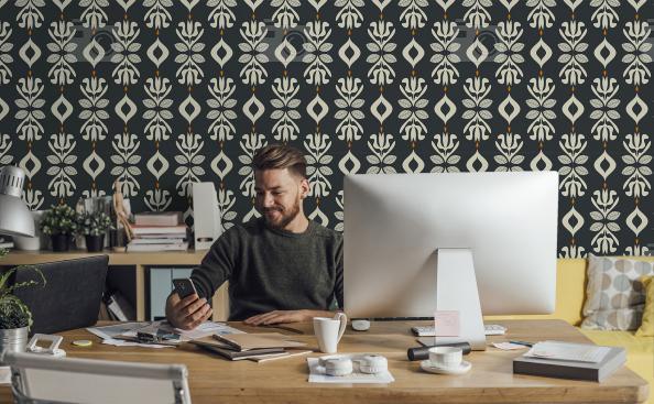 Tapeta florystyczny ornament do biura