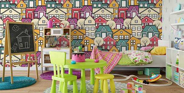 Tapeta kolorowe domki
