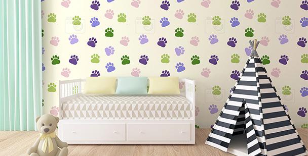 Tapeta kolorowe psie ślady