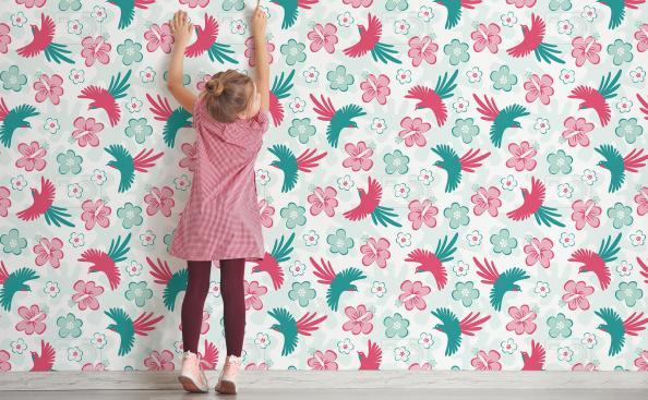 Tapeta kolorowe ptaki w pokoju dziecka