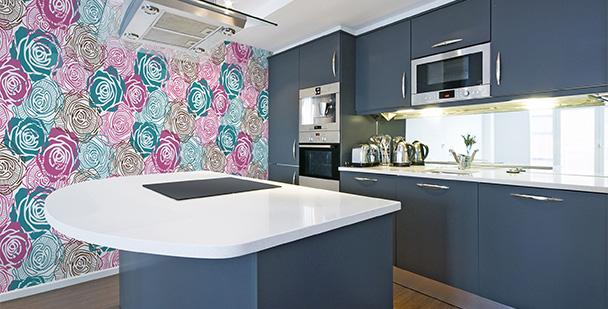 Tapeta kolorowe róże do kuchni