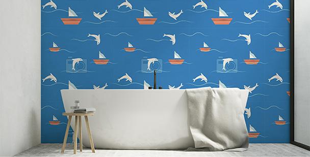 Tapeta łazienkowa delfiny