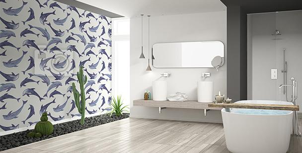 Tapeta motyw delfinów do łazienki