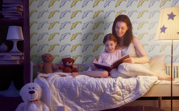 Tapeta motyw delfinów do pokoju dziecka