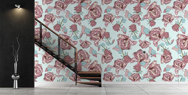 Tapeta romantyczny motyw róż