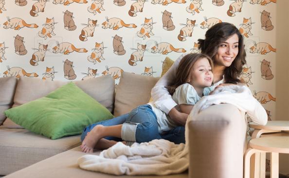Tapeta rude koty do pokoju dziecka