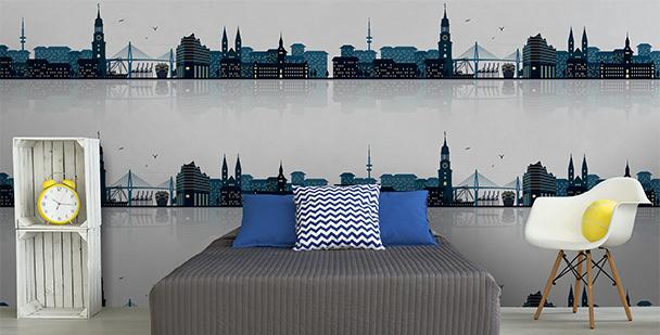 Tapeta z panoramą miasta do sypialni