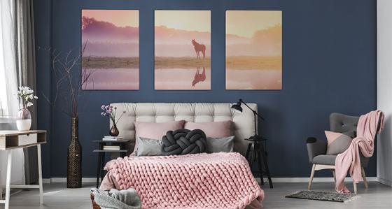 Dekoracja sypialni: obraz w trzech częściach
