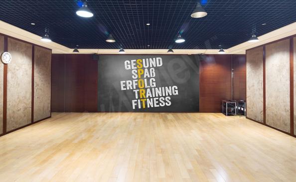 Typograficzna fototapeta do klubu fitness
