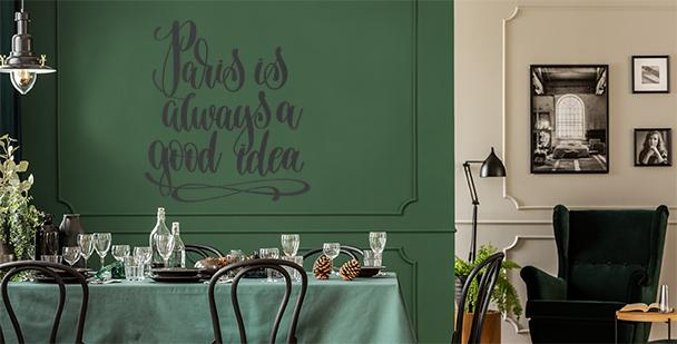 Typograficzna naklejka Paryż