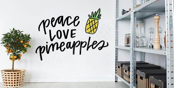 Typograficzna naklejka z ananasem