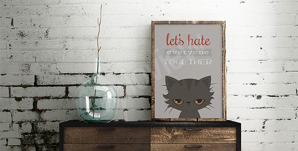 Typograficzny plakat z kotem