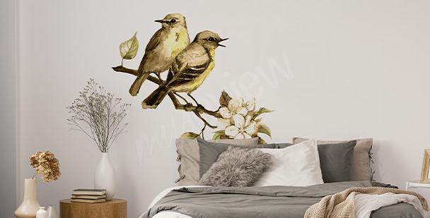 Wiosenna naklejka z ptakami