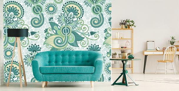Zielona fototapeta do salonu