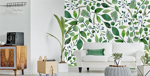 Zielona fototapeta liście