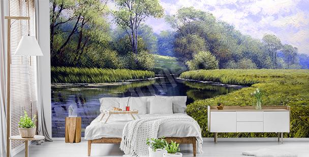 Zielona fototapeta z krajobrazem